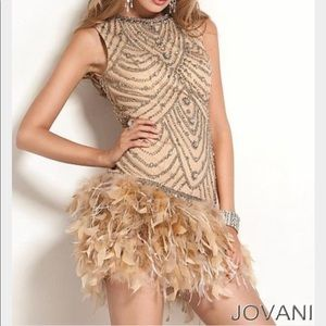 Jovani Cocktail feather dress
